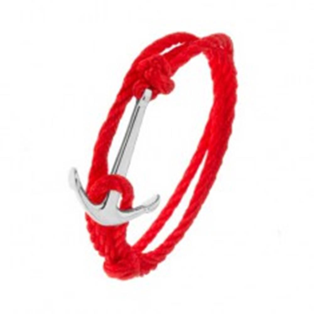 Šperky eshop Červený šnúrkový náramok na obtočenie okolo ruky, kotva striebornej farby
