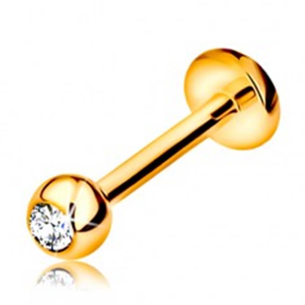 Šperky eshop Diamantový zlatý 585 piercing do pery a brady - gulička s briliantom, 8 mm