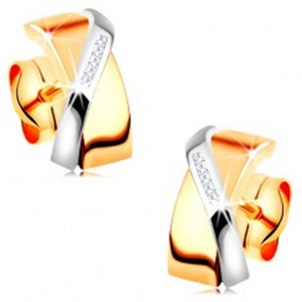 Šperky eshop Dvojfarebné náušnice v 14K zlate - prekrývajúce sa oblúčiky, číre zirkóniky