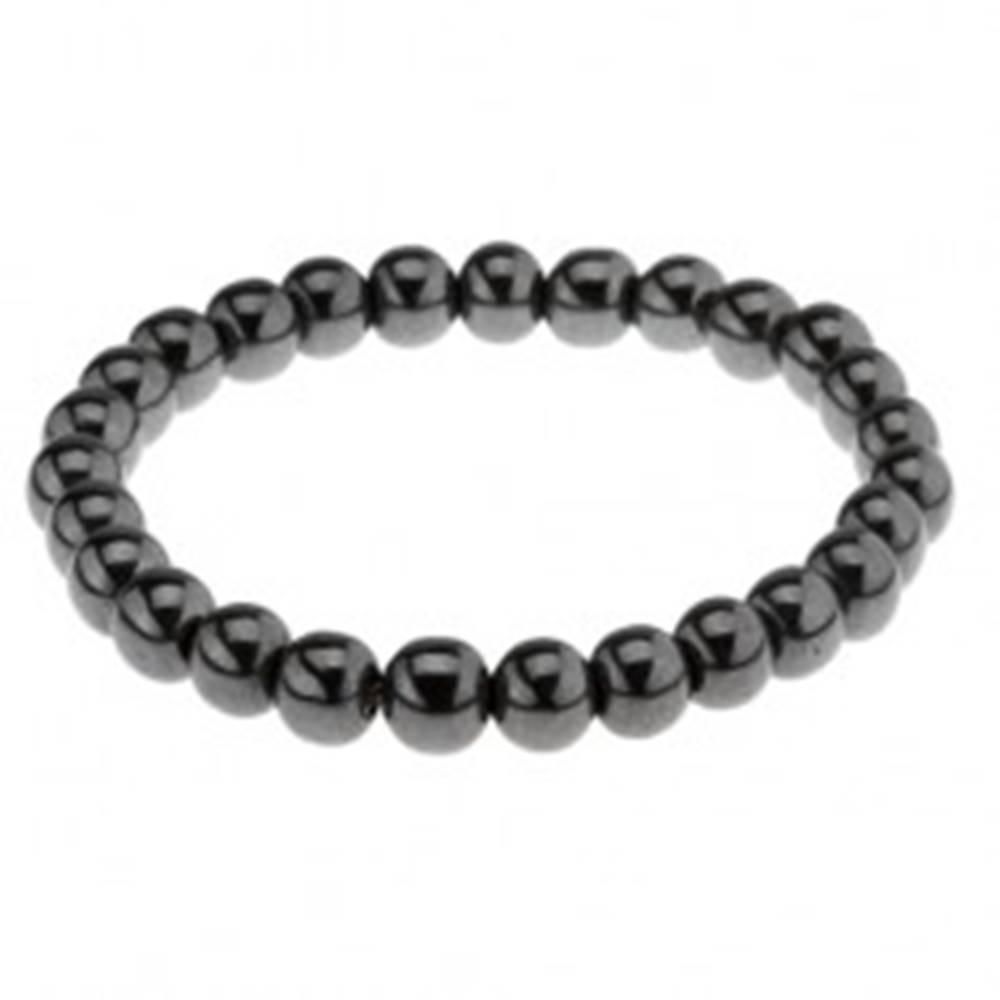 Šperky eshop Elastický náramok, lesklé guličky z hematitu, oceľovo sivý odtieň