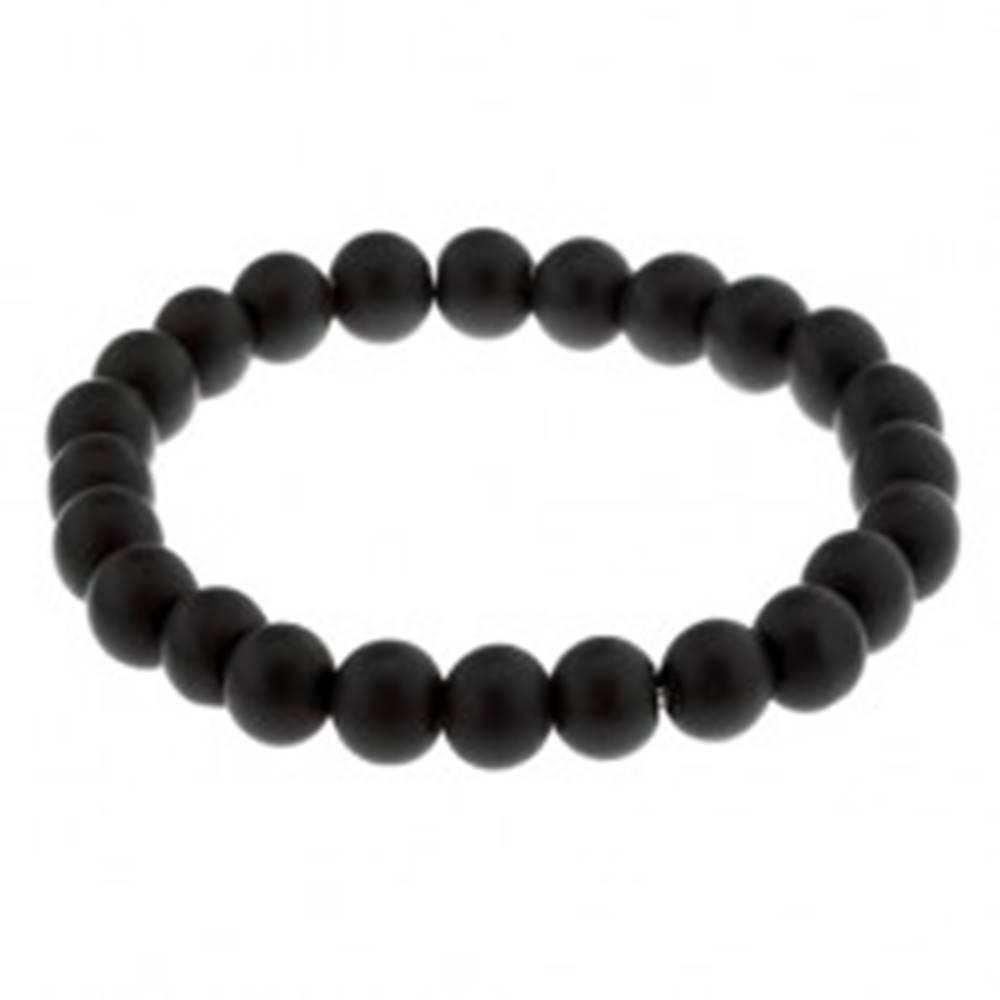 Šperky eshop Elastický náramok na ruku, čierne guličky s matným povrchom