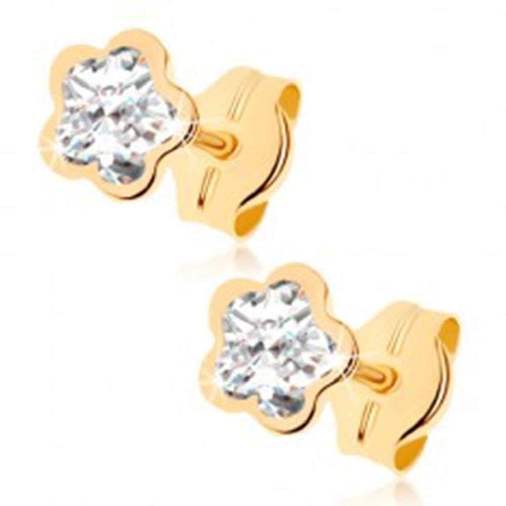 Šperky eshop Náušnice v žltom 9K zlate - číry zirkónový kvietok, lesklý lem