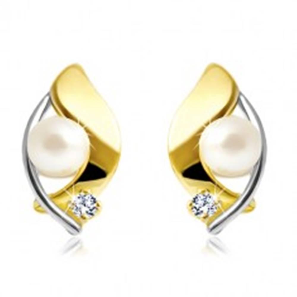 Šperky eshop Náušnice zo 14K zlata, dvojfarebné zrnko, biela perla a číry zirkón