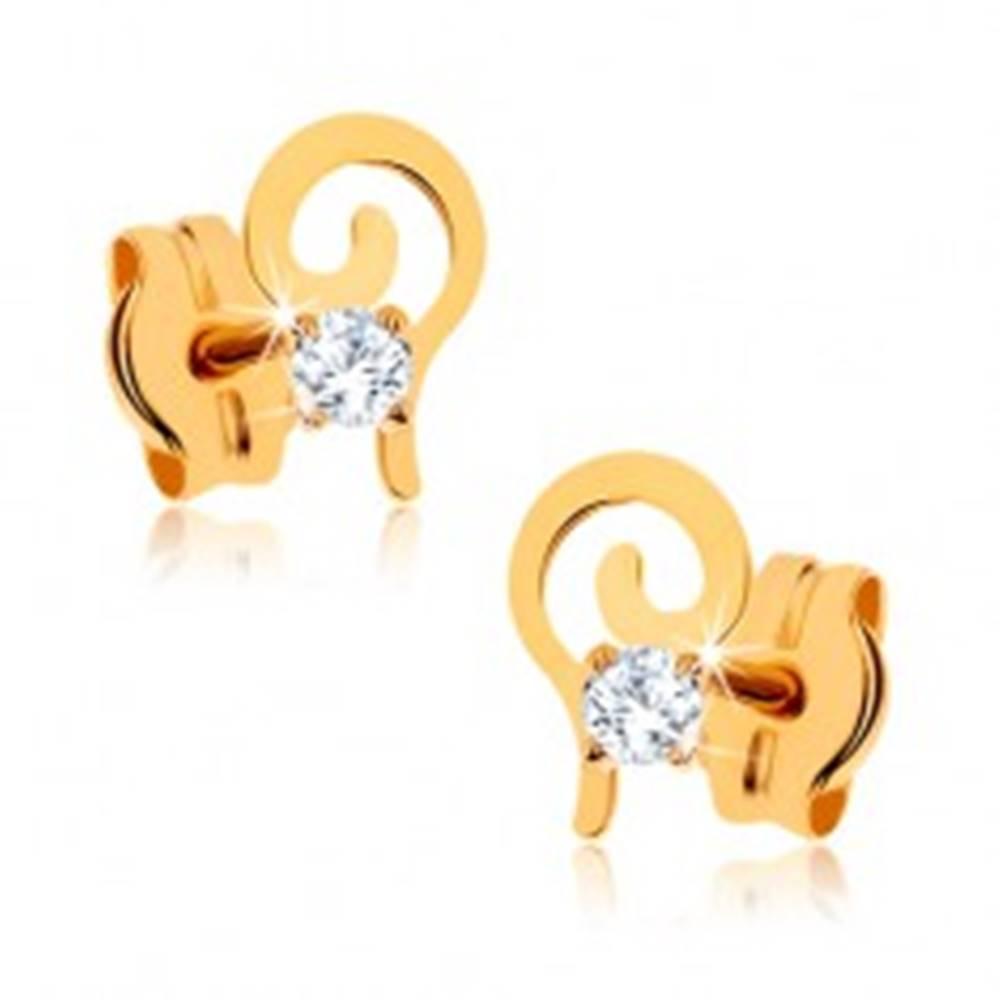 Šperky eshop Zlaté náušnice 375 - plochá špirála zdobená okrúhlym čírym kamienkom