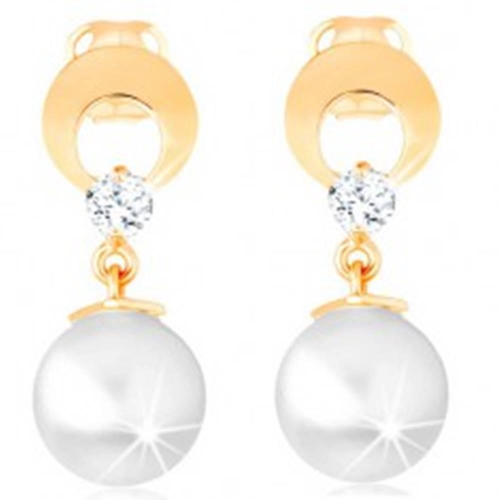 Šperky eshop Zlaté náušnice 585 - kruh s výrezom a čírym diamantom, visiaca biela perla