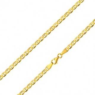 Retiazka zo žltého 14K zlata - lesklé oválne očká s paličkou uprostred, 600 mm