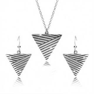 Sada zo striebra 925 - náhrdelník a náušnice, obrátený trojuholník s patinovanými líniami