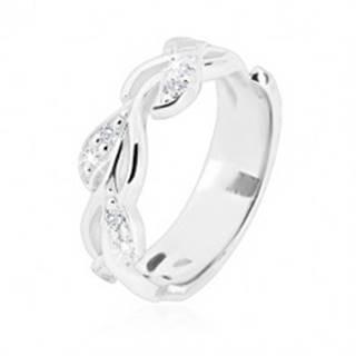 Strieborný prsteň 925 - lesklá stonka s lístkami a trblietavými zirkónikmi - Veľkosť: 49 mm