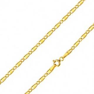 Zlatá 14K retiazka - oválne očká, podlhovasté očká s obdĺžnikom, 550 mm