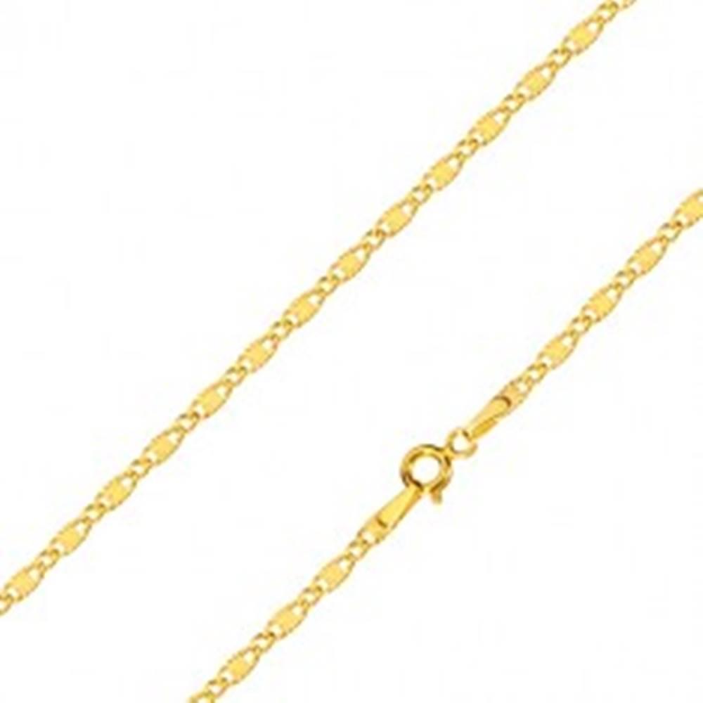 Šperky eshop Retiazka v žltom zlate 585 - oválne očká, podlhovasté očká s lúčovitým motívom, 500 mm