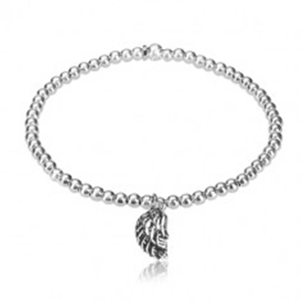 Šperky eshop Rozťahovací náramok - zvlnené anjelské krídlo s patinou, guľôčky, striebro 925
