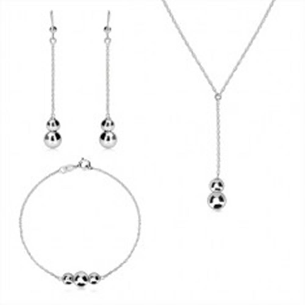 Šperky eshop Strieborný 925 trojset - špirálovitá retiazka, hladké zrkadlovolesklé guličky
