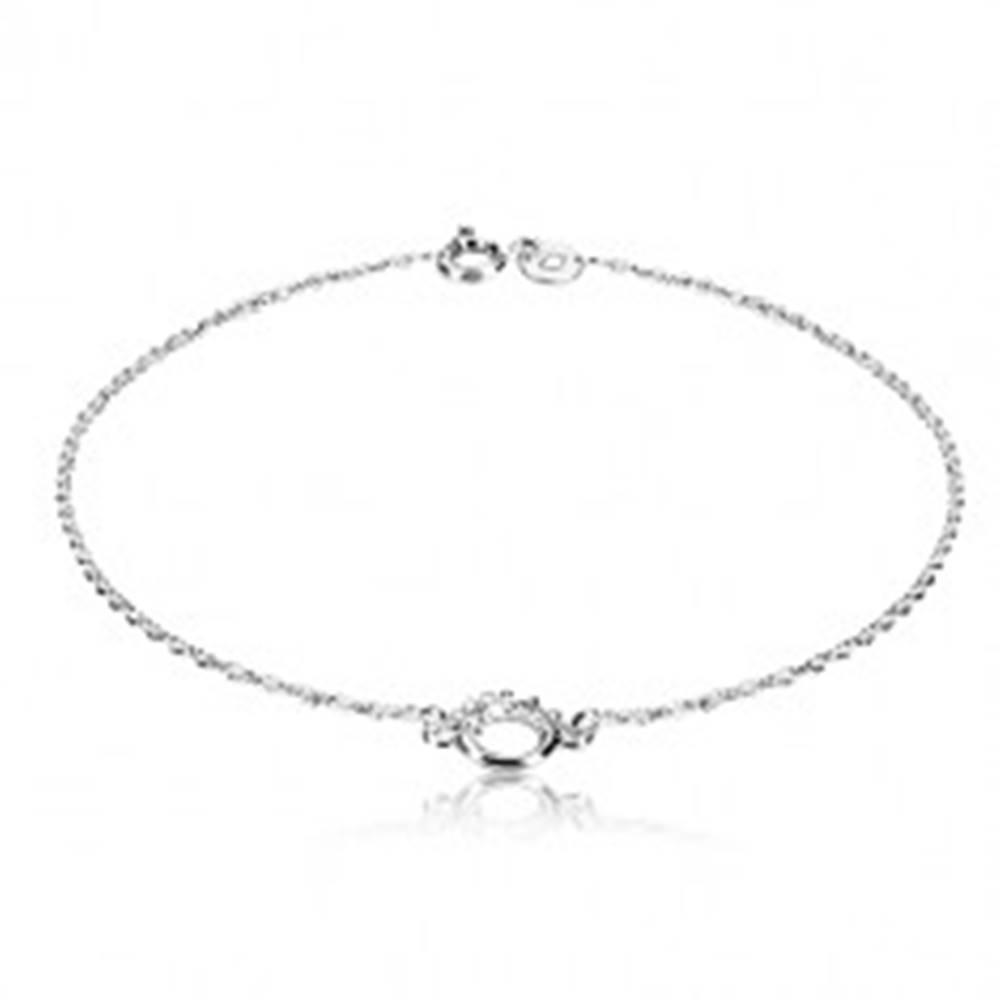 Šperky eshop Strieborný náramok 925 - lesklý krúžok s bodkovanou polovicou, jemná retiazka