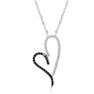 Strieborný náhrdelník 925, obrys asymetrického srdca, číre a čierne zirkóniky