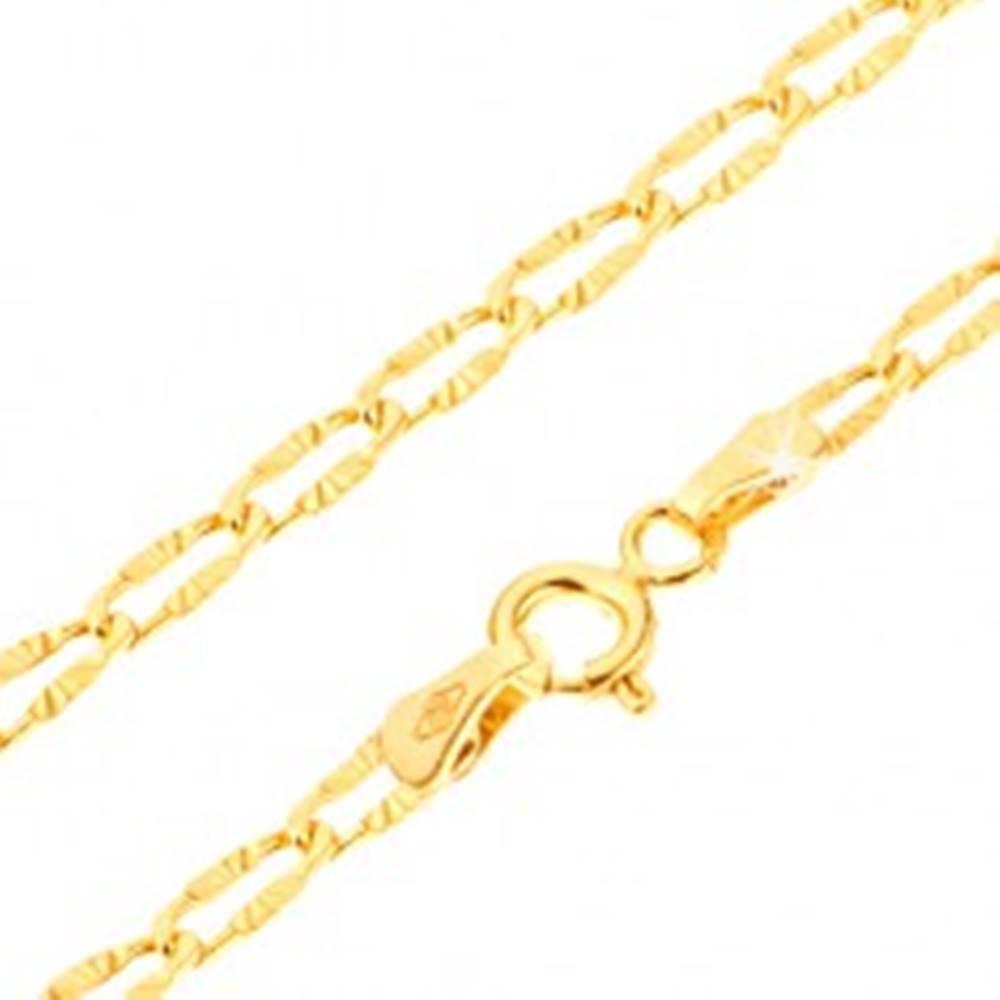 Šperky eshop Lesklý zlatý náramok 585 - sploštené očká s lúčovitými ryhami, 190 mm