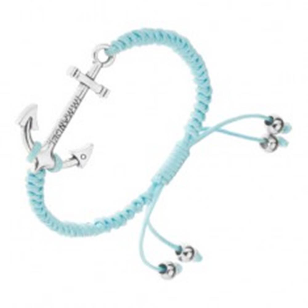 Šperky eshop Nastaviteľný náramok na ruku z modrých šnúrok, veľká lodná kotva
