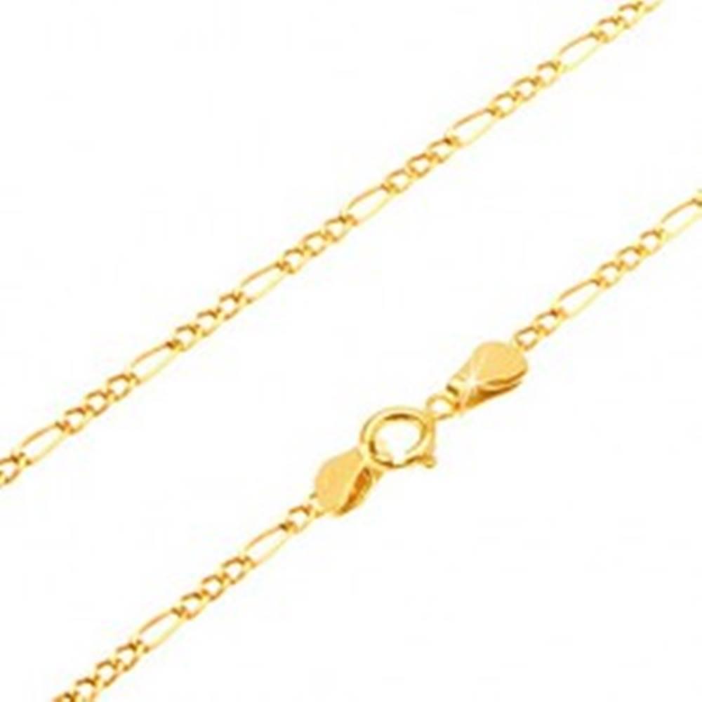 Šperky eshop Retiazka v žltom 14K zlate - tri malé očká a podlhovasté očko, 550 mm