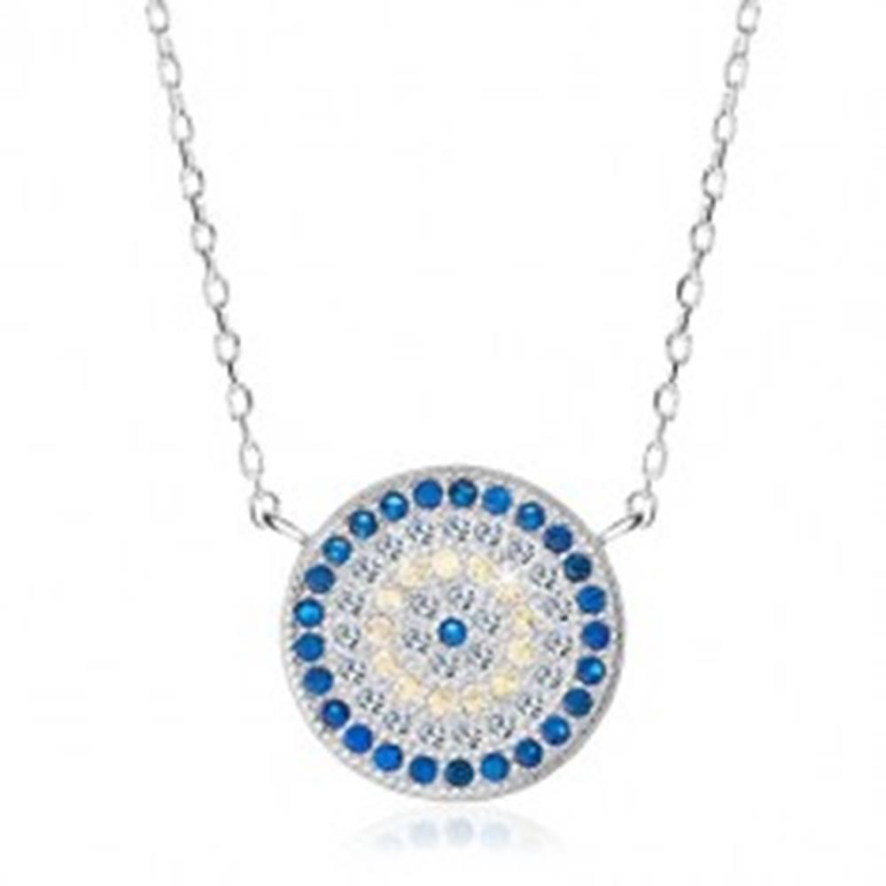 Šperky eshop Ródiovaný náhrdelník, striebro 925, kruh s modrými, žltými a čírymi zirkónmi