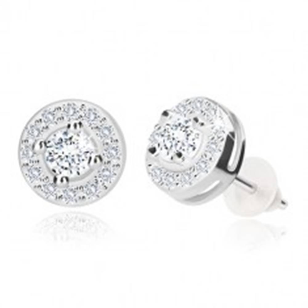 Šperky eshop Strieborné náušnice 925, ligotavý okrúhly zirkón s čírou obrubou, puzetky, 7 mm
