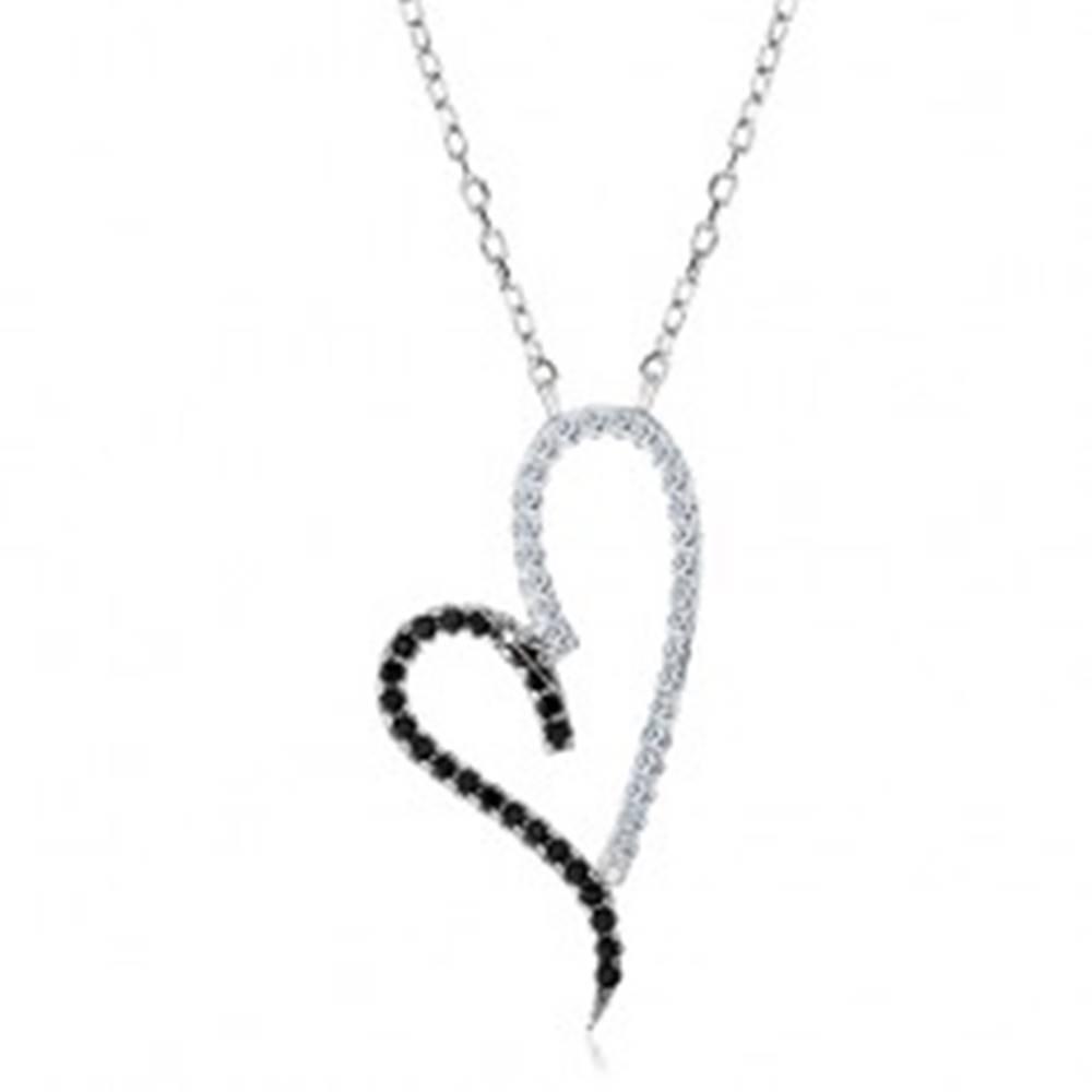 Šperky eshop Strieborný náhrdelník 925, obrys asymetrického srdca, číre a čierne zirkóniky