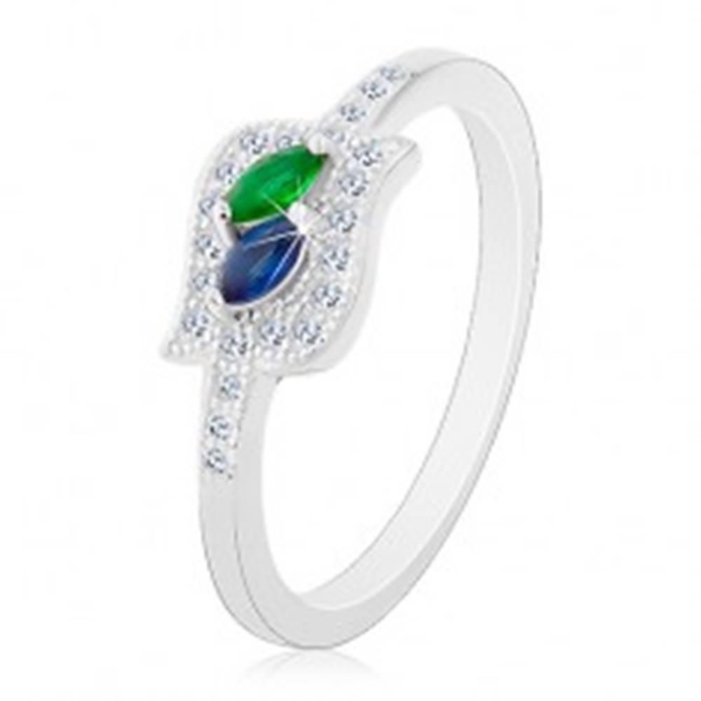 Šperky eshop Strieborný prsteň 925, modré a zelené zirkónové zrnko v čírej kontúre, ródiovaný - Veľkosť: 48 mm