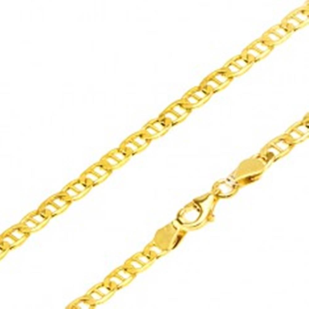 Šperky eshop Zlatá retiazka 585 - ploché elipsovité očká, palička uprostred, 550 mm