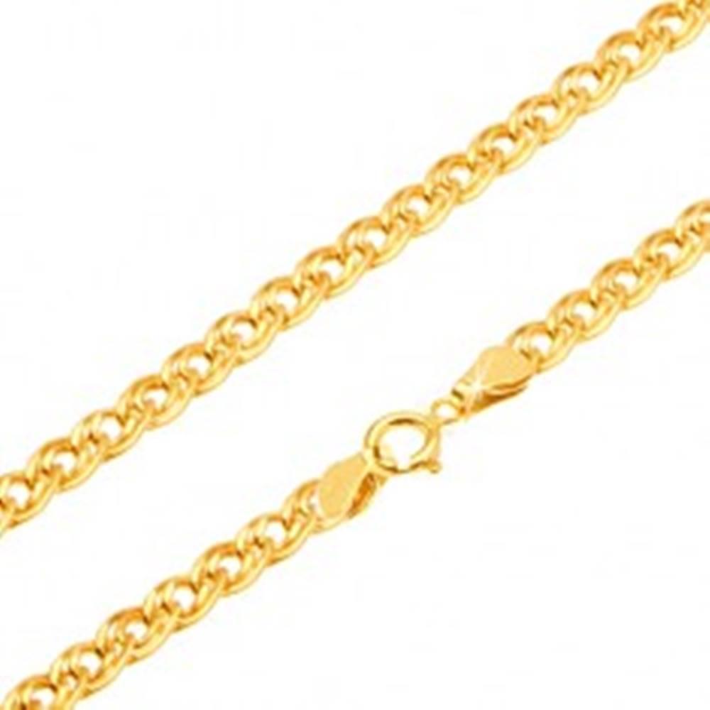 Šperky eshop Zlatá retiazka 585 - trblietavé elipsovité väčšie a menšie očko, 550 mm