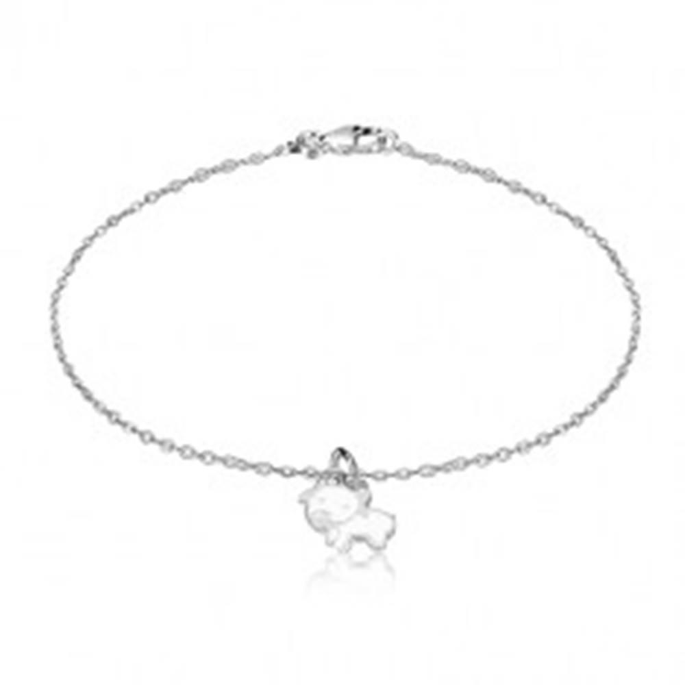 Šperky eshop Strieborný náramok 925 - lesklá retiazka, malý prívesok v motíve kravy
