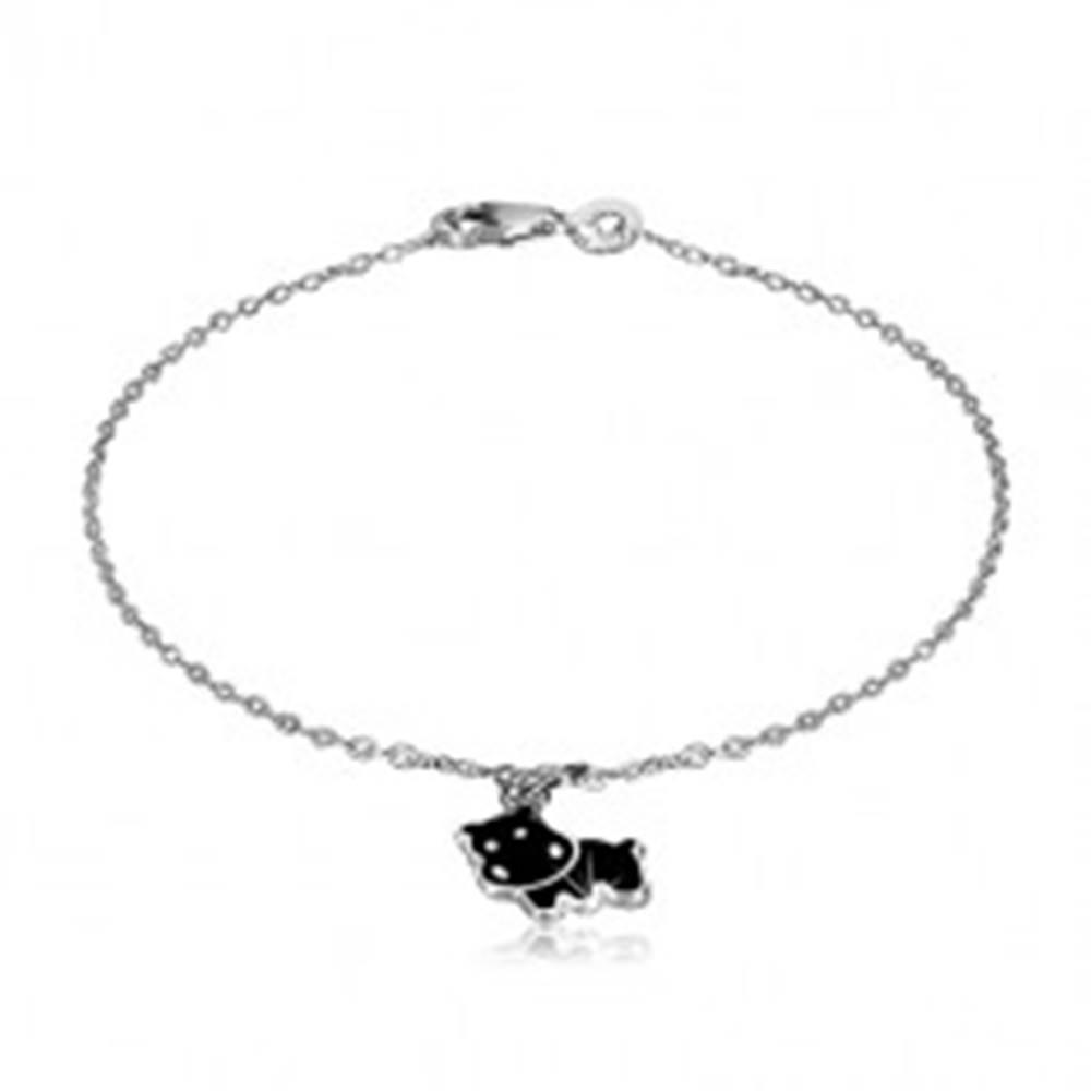 Šperky eshop Strieborný náramok 925 - prívesok s motívom čierneho hrocha, lesklá retiazka