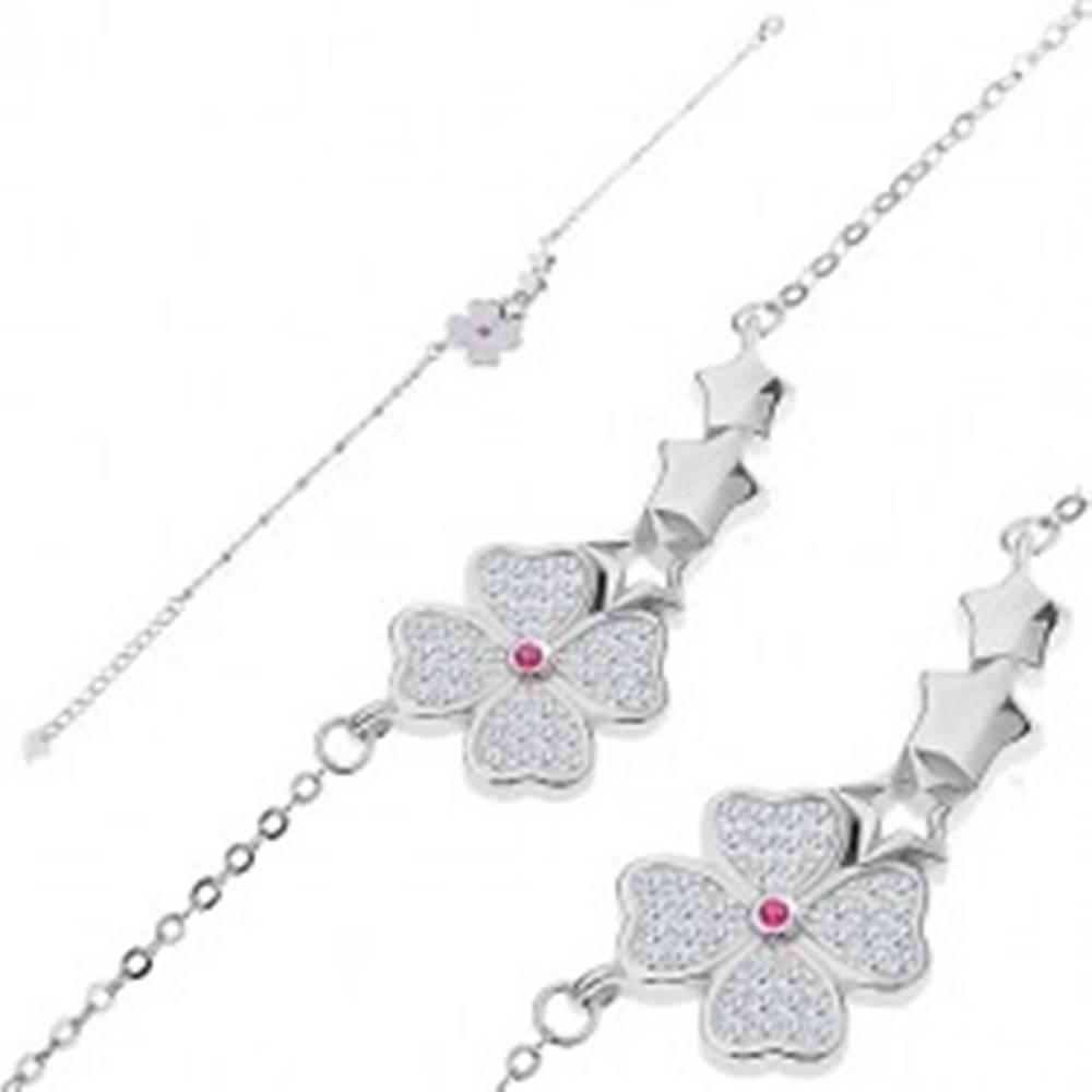 Šperky eshop Strieborný náramok 925 - trblietavý kvietok, tri hviezdičky, malé oválne očká