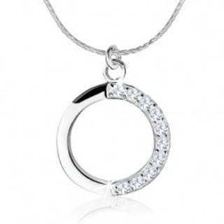 Strieborný náhrdelník 925, obrys kruhu, číre zirkóny na jednej polovici
