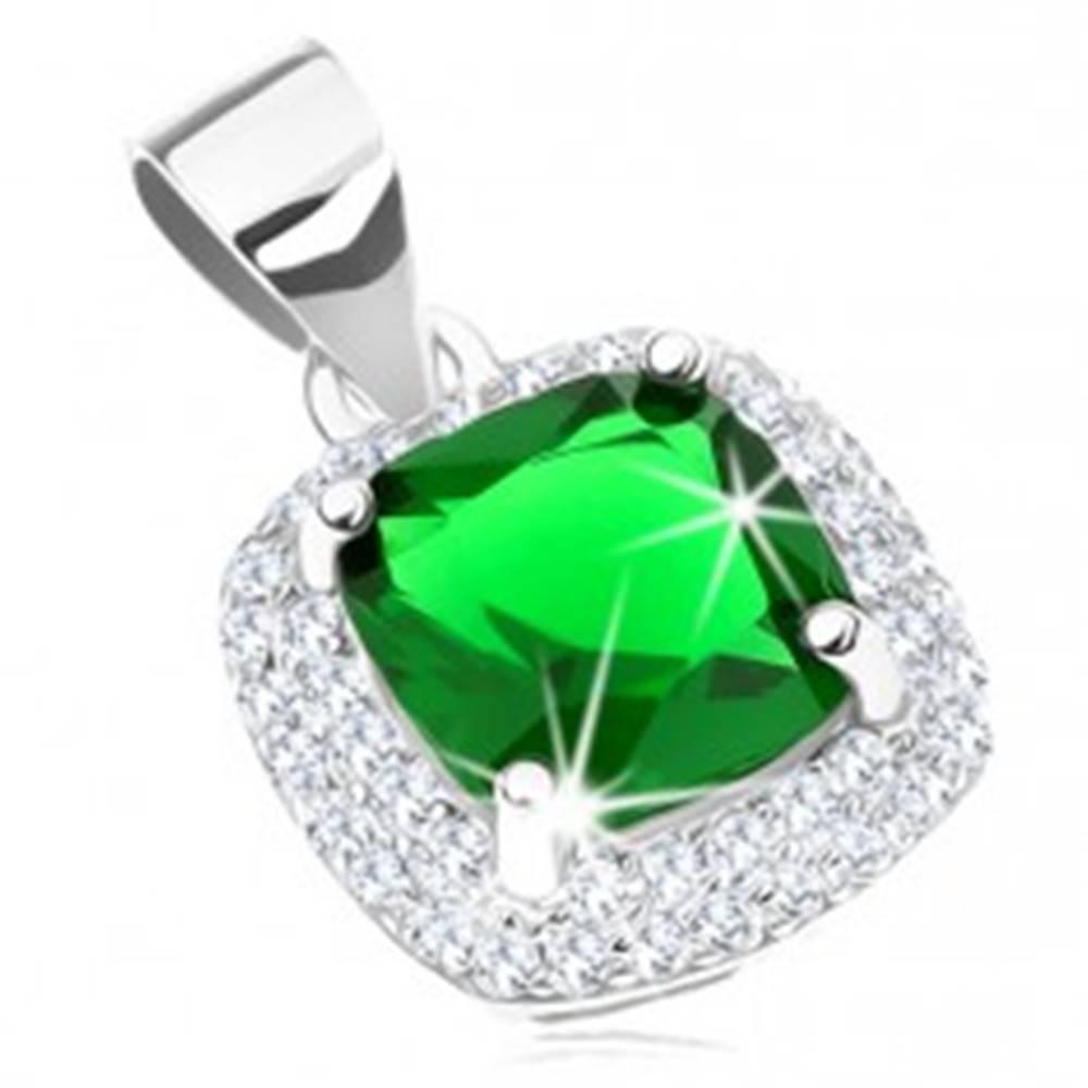 Šperky eshop Ródiovaný prívesok, striebro 925, zelený štvorcový zirkón, trblietavý lem