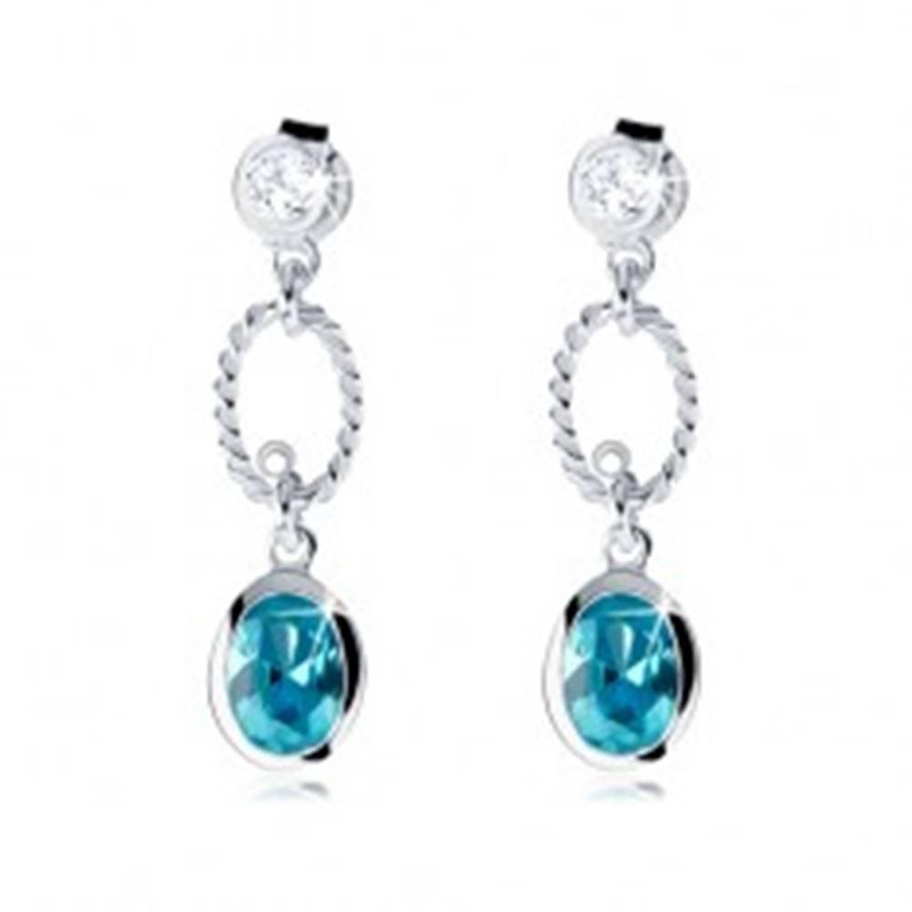 Šperky eshop Strieborné náušnice 925, modrý zirkónový ovál, číry kamienok, kontúra oválu