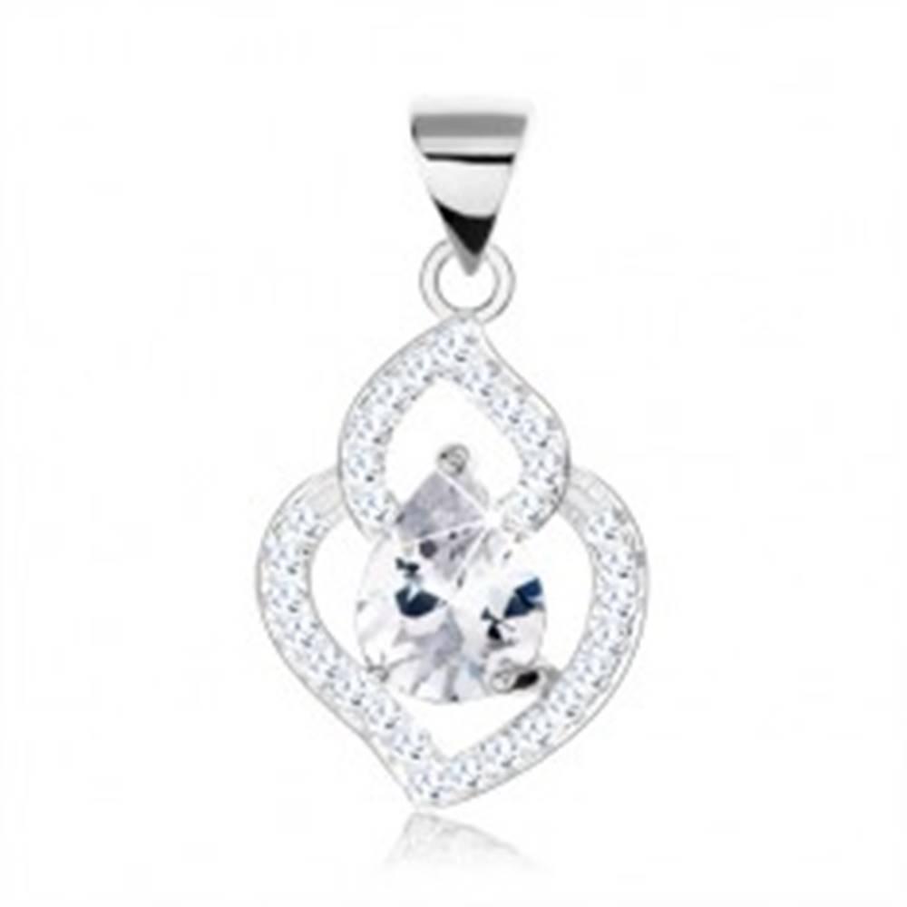 Šperky eshop Strieborný 925 prívesok, kontúra listu, zirkónový lem, číry zirkón v podobe slzy