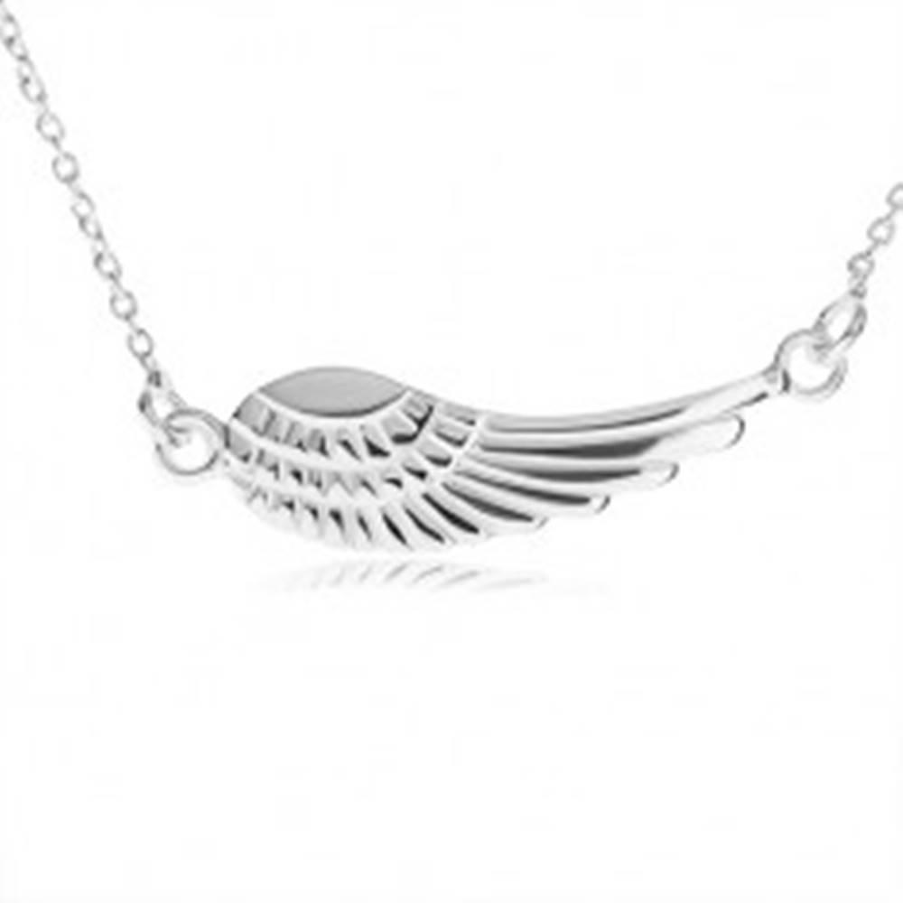 Šperky eshop Strieborný náhrdelník 925, prívesok - anjelské krídlo s gravírovaním
