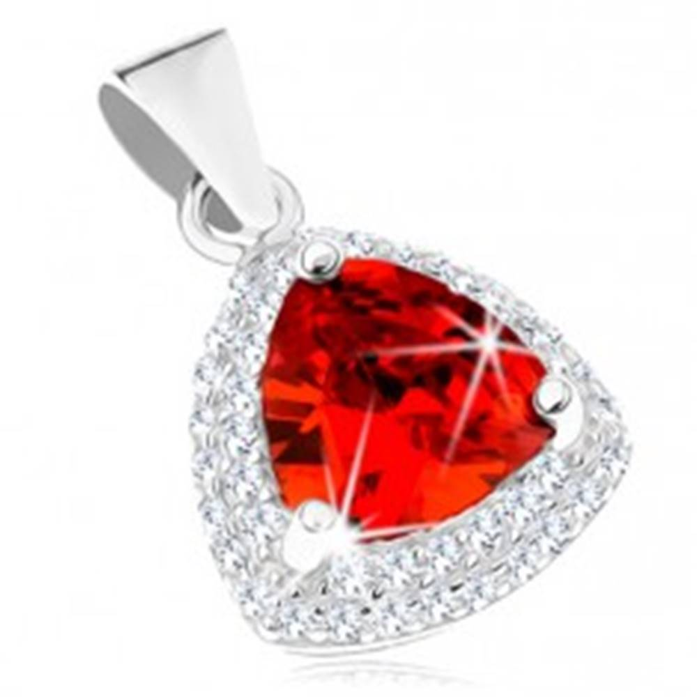 Šperky eshop Strieborný prívesok 925, červený zirkónový trojuholník s čírym lemom