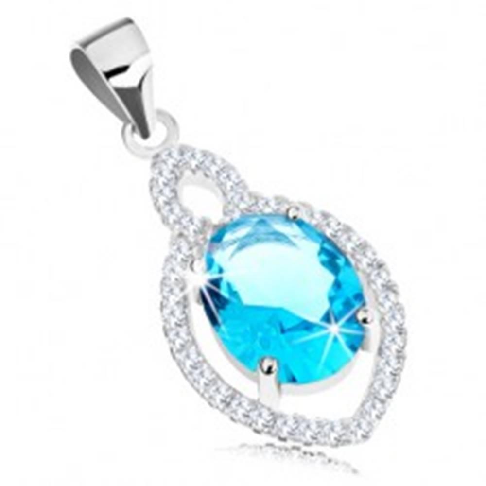 Šperky eshop Strieborný prívesok 925, oválny zirkón akvamarínovej farby, číry lem