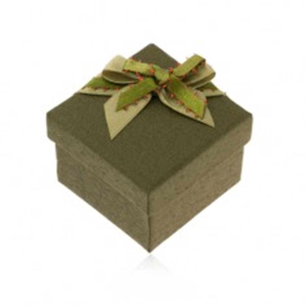 Šperky eshop Tmavozelená krabička na prsteň alebo náušnice, zelená mašlička