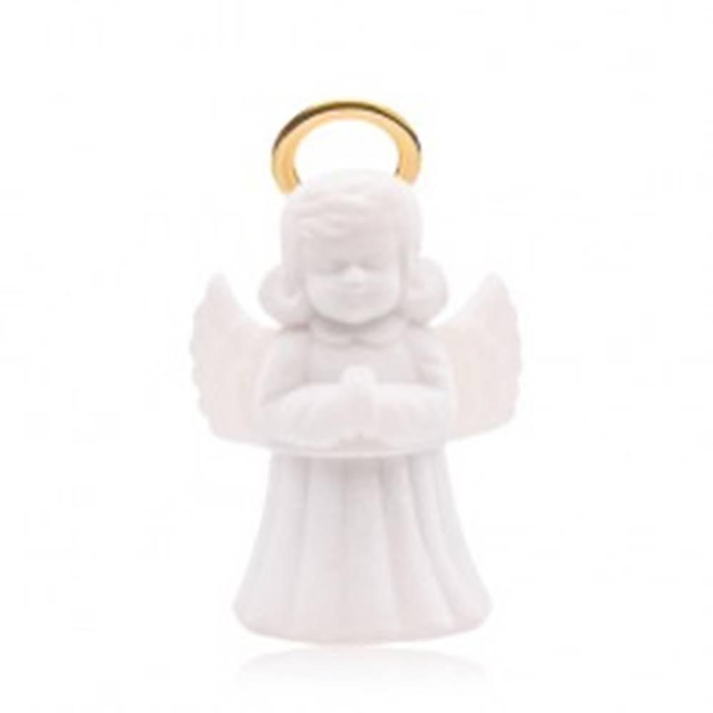 Šperky eshop Krabička na prsteň alebo náušnice, biely zamatový anjelik so svätožiarou
