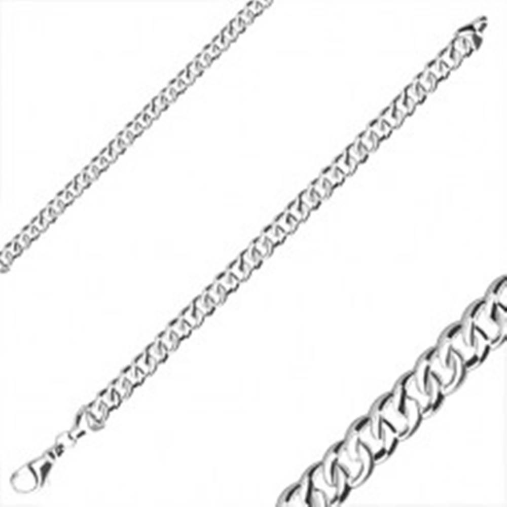 Šperky eshop Náramok zo striebra 925 - zrkadlovo lesklý povrch, oválne očká, karabínka