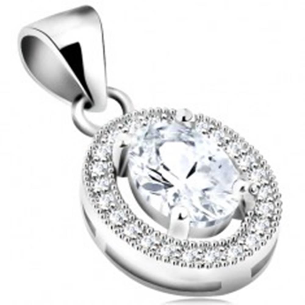 Šperky eshop Strieborný 925 prívesok, zirkónový ovál čírej farby, línia z drobných zirkónikov