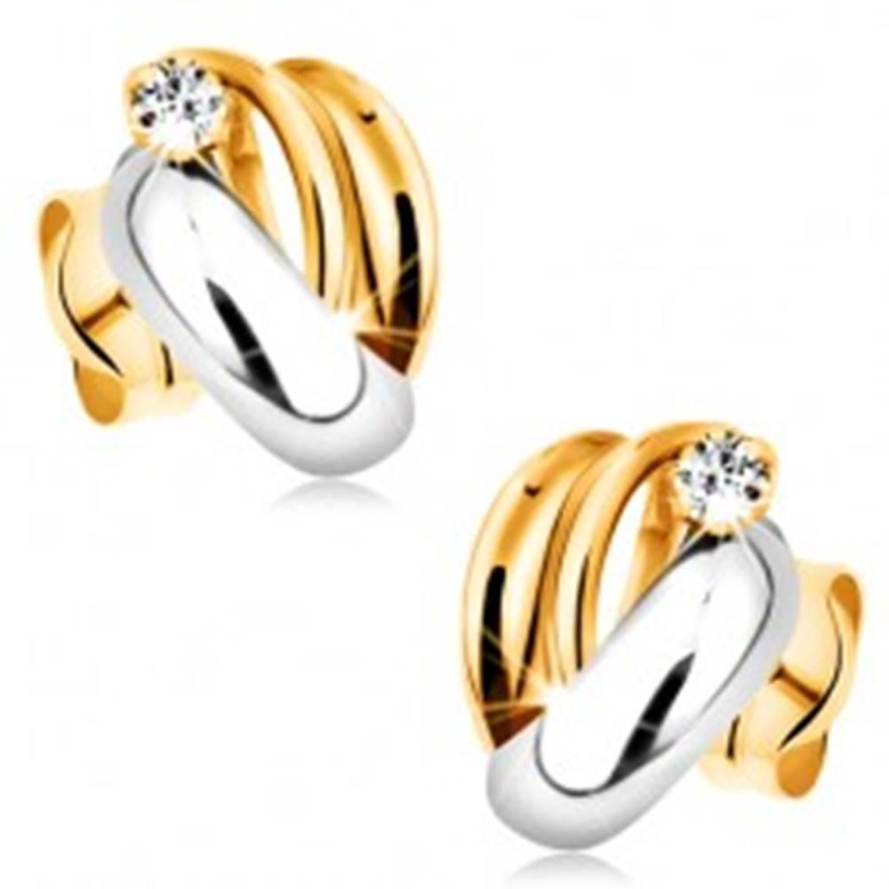 Šperky eshop Zlaté diamantové náušnice 585 - lesklé dvojfarebné oblúky, číry okrúhly briliant