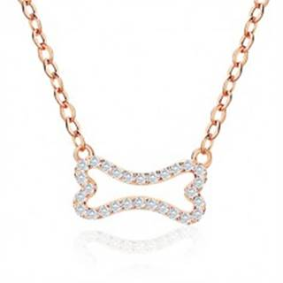 Strieborný náhrdelník 925 ružovozlatej farby - zirkónová kostička, jemná retiazka, karabínka