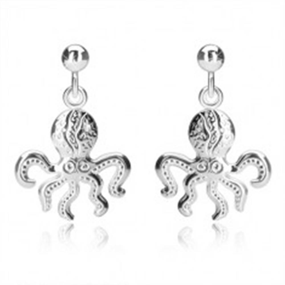 Šperky eshop Strieborné náušnice 925 - chobotnica s piatimi chápadlami, lesklá guľôčka, puzetky