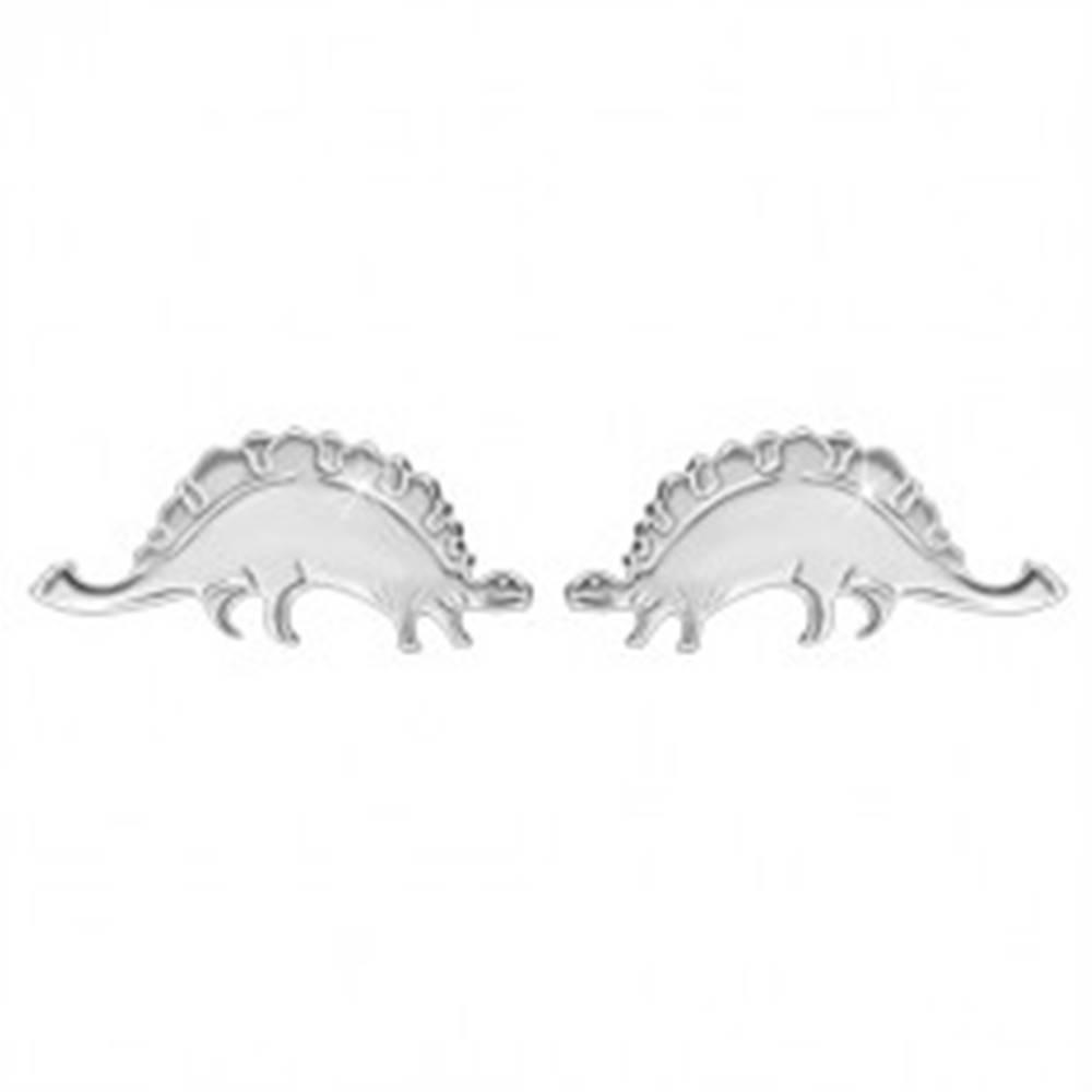 Šperky eshop Strieborné náušnice 925 - ligotavý dinosaurus - stegosaurus, puzetové zapínanie