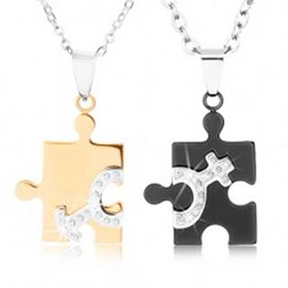 Náhrdelníky z ocele 316L pre dvojicu, puzzle v dvoch farbách, symboly ON a ONA