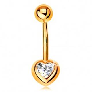 Piercing do bruška zo žltého 9K zlata - banán s guľôčkou, číre zirkónové srdce
