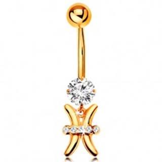 Zlatý 375 piercing do bruška - číry zirkón, lesklý symbol zverokruhu - RYBY