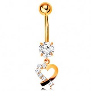 Zlatý 9K piercing do pupka - kontúra srdiečka s čírou zirkónovou polovicou