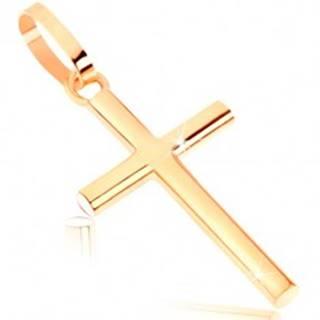Zlatý prívesok 375 - lesklý latinský krížik s okrúhlym prierezom ramien